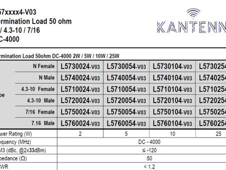 L5720054-v03   Termination Load 50ohm DC-4000 2W / 5W / 10W / 25W   N / 4.3-10 / 7/16