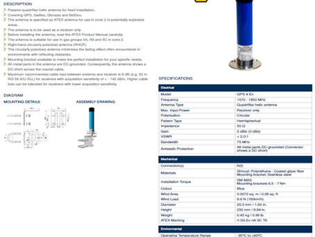 Vi leverer GPS Antennas | GPS 4-Ex | ATEX Godkjent | Amphenol Procom