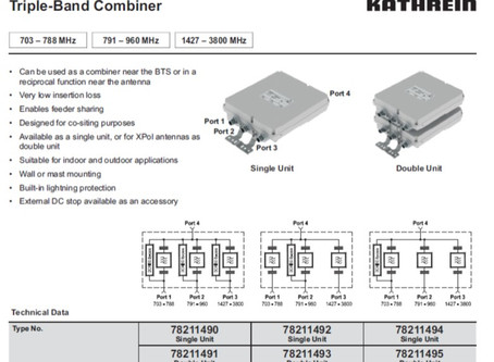 Triple-Band Combiner | 703 – 788 MHz | 791 – 960 MHz | 1427 – 3800 MHz fra Kathrein / Ericsson.