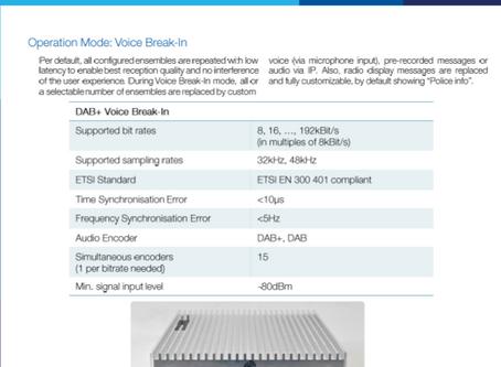 PrecisionWave | Produkt katalog | DAB+ & FM Tunnel Voice Break-In (or in-house)