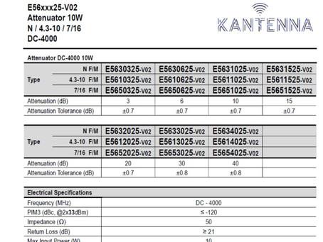 E5611025-v02   Attenuator DC-4000 10W   N / 4.3-10 / 7/16   fra Kantenna
