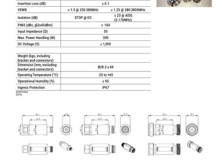 W009000x-V01 | DC Stop | 50 N / 4.3-10 / DIN | 250-3800 MHz | Kantenna
