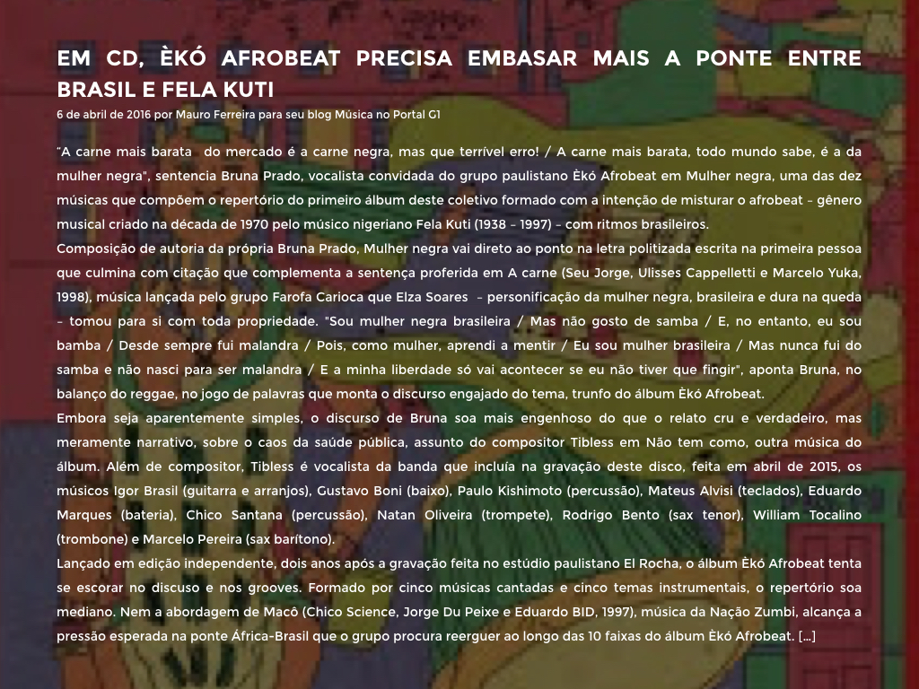 EM CD, ÈKÓ AFROBEAT PRECISA EMBASAR