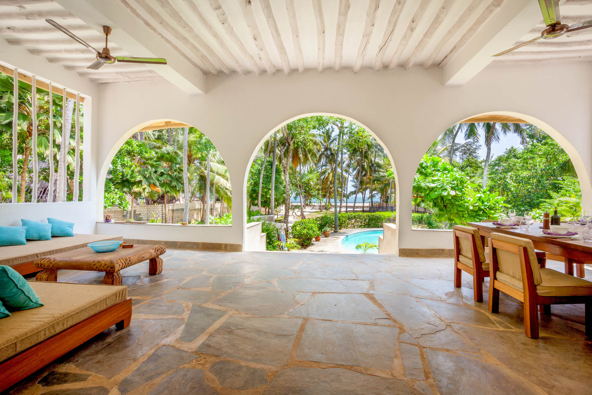 Terrace overlooking pool and beach