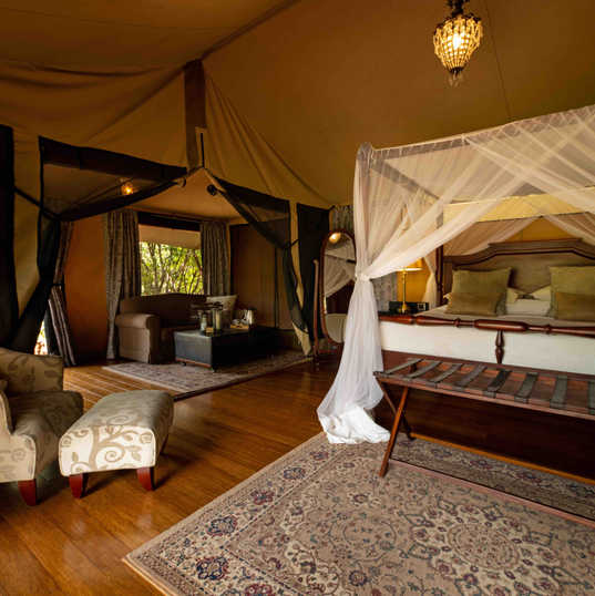 Elewana Sand River Luxury Tent interior