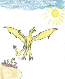 Der Honigdrache ernährt sich von Honig und Baumharz und er greift jeden Drachen an, der ihm zu nahe kommt.