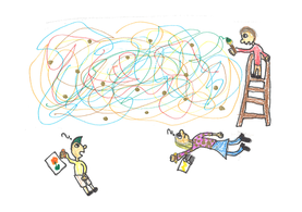Alle Kinder zeichnen etwas auf Papier. Ausser Anand – der malt an die Wand.