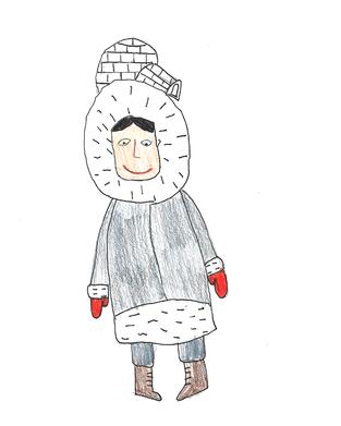 Farewell hat sich rote Handschuhe gekauft, weil ihre Mutter manchmal ruft: «Farewell, wo bist du?» Dann streckt Farewell die roten Handschuhe so hoch wie sie kann in die Luft, damit ihre Mutter die kleinen roten Handschuhe in der weissen Schneelandschaft sehen kann. Farewell baut auch gerne Iglus: Sie hat ein eigenes Messer bekommen, damit sie die Würfel aus dem eisigen Schnee schneiden kann.