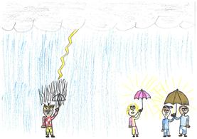 Alle Kinder haben bunte Regenschirme. Ausser Lukas – der wird ganz nass.