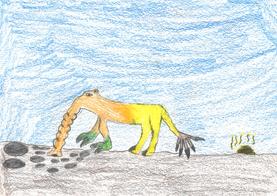 Der Steinschlucker hat einen Schwanz, der eigentlich eine Hand ist, die den Angreifer packt und ihn hinwegschleudert; er erwacht um 10 Uhr morgens und um 8 Uhr abends geht er wieder schlafen.