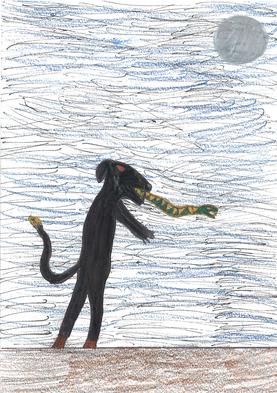Der rotäugiger Schlangenwolf verspeist alles Mögliche, von einer kleinen Spinne bis zu einem Elefant und ist sehr gefärhlich!