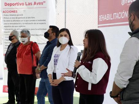 Ayuntamiento de Puebla rehabilita cancha de usos múltiples en el Deportivo Las Aves