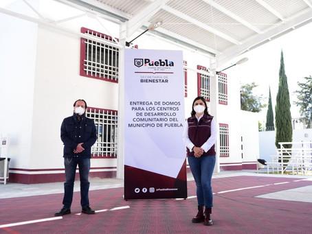 Ayuntamiento de Puebla entrega dos domos en las colonias San Ramón y SNTE