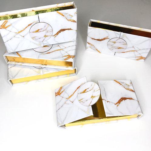 White & Gold Marble Lash Boxes
