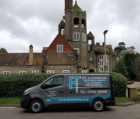 My van outside the Cloisters in Letchwort