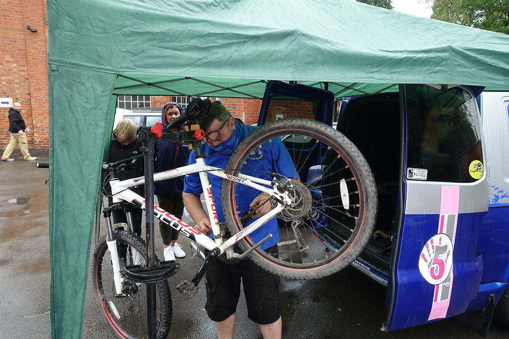 A mountain bike being serviced by The Cycle Recycler at the Kenilworth Repair Cafe