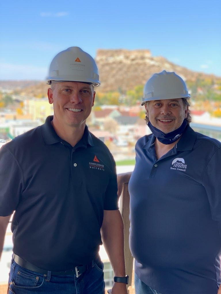 Tony DeSimone, Principal of Confluence Companies and Mayor Jason Gray at the Topping Out Celebration