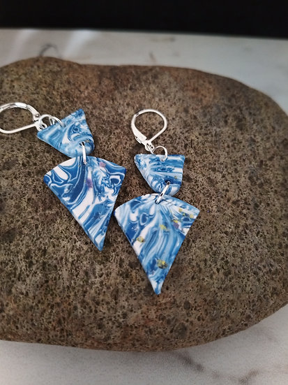 Blue Waters Fan shaped Statement Earrings