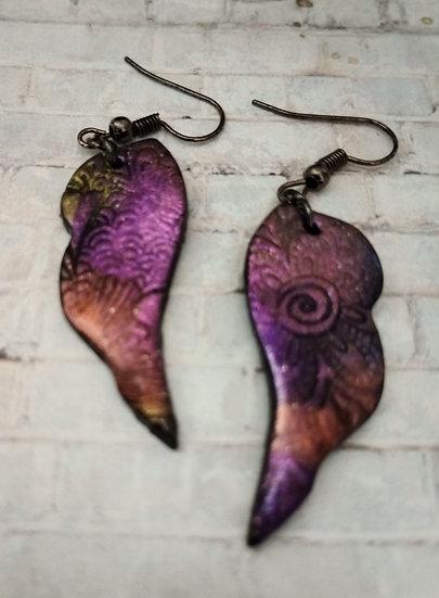 Sparkly Embossed Angel Wings Earrings