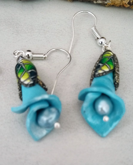 Light Blue Flower Stem Earrings