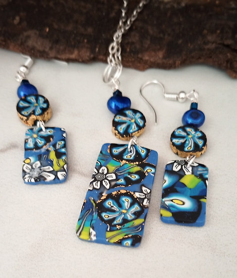 Blue Flower Necklace set