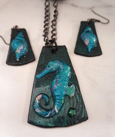 Turquoise Sea Horse Necklace set