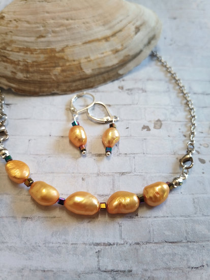 Yellow Baroque freshwater Pearls Necklace set