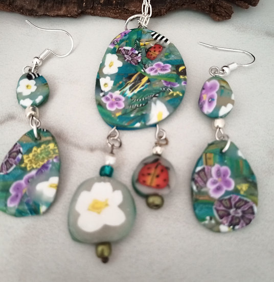 Teal Garden (pebble shape) Necklace set