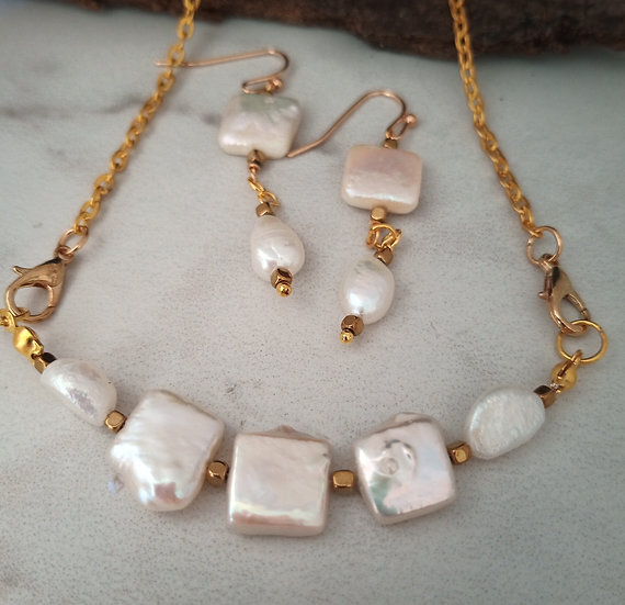 Square Freshwater Pearls Necklace set