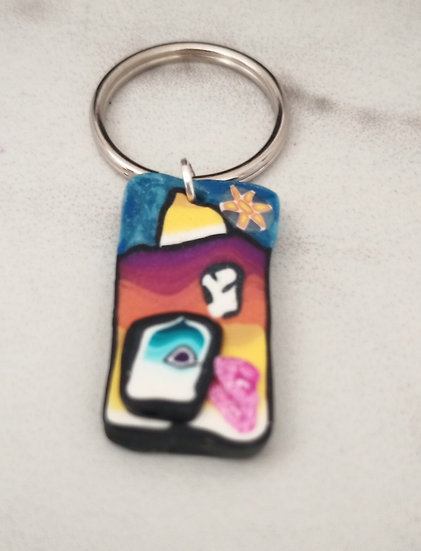 Multicolored House Key Chain