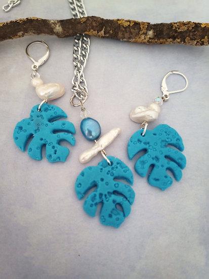 Monstera Leaf Turquoise Necklace Set