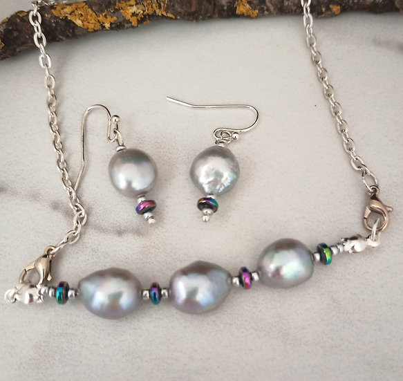 Huge Gray Fresh Water Pearls Necklace set