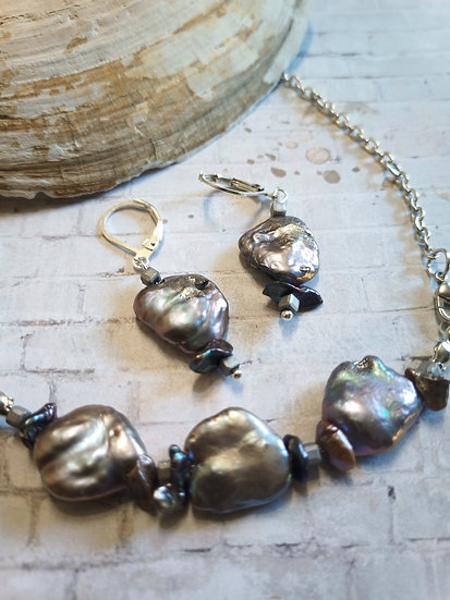 """Silver Keishi """"Coin"""" Freshwater Pearls Necklace set"""