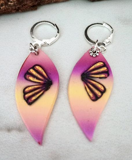 Ombré Butterflies Wings Earrings