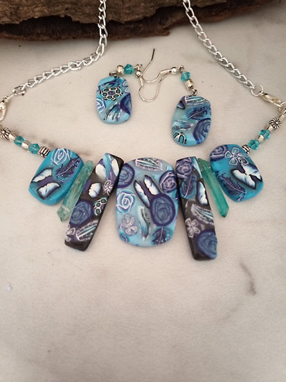 Soft Blue and Black Butterflies Statement Necklace set