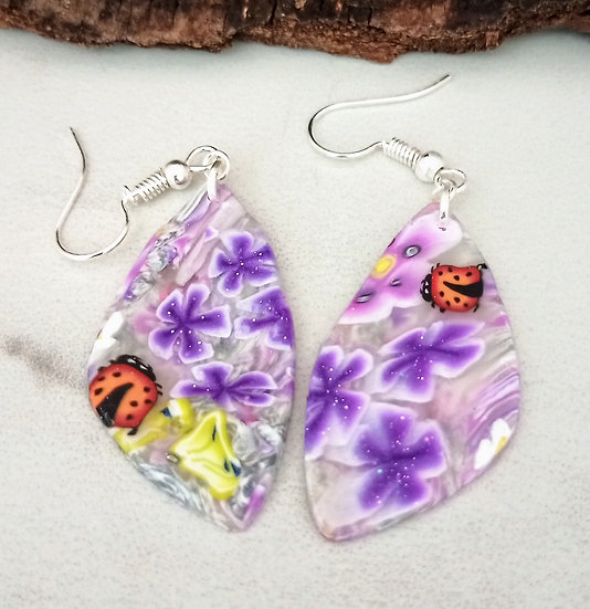 Purple Flowers and Lady Bugs Earring.