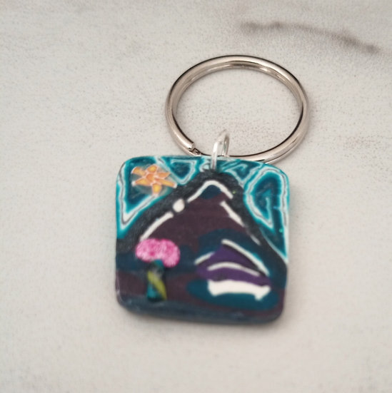 Teal House Key Chain