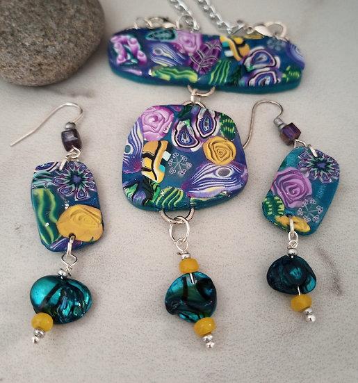Mini Teal Floating Garden Statement Necklace set
