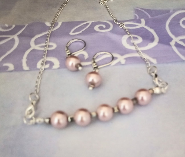 Pink South Sea Freshwater Pearls Necklace set