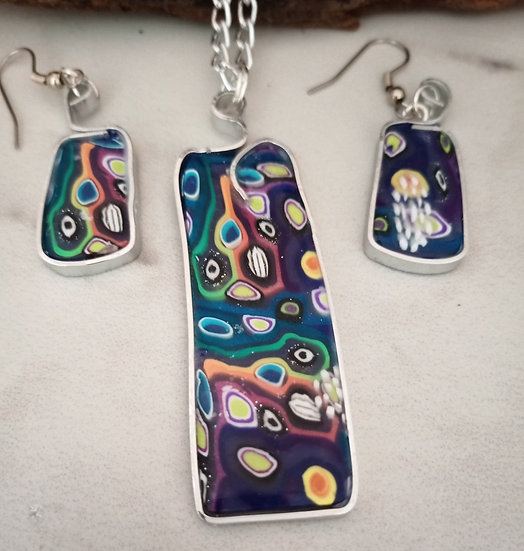 Large Colorful Labyrinth Necklace set
