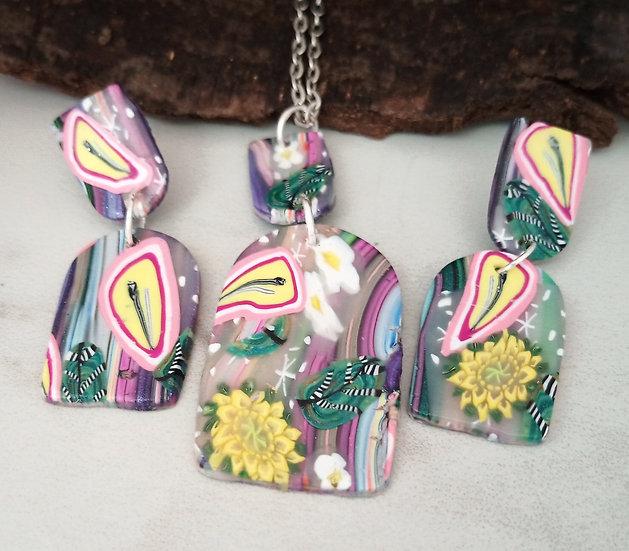 Pink Flower Gardens Necklace set