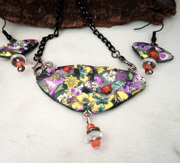 Triangular-ish Fox Glove and Lady Bugs Necklace set