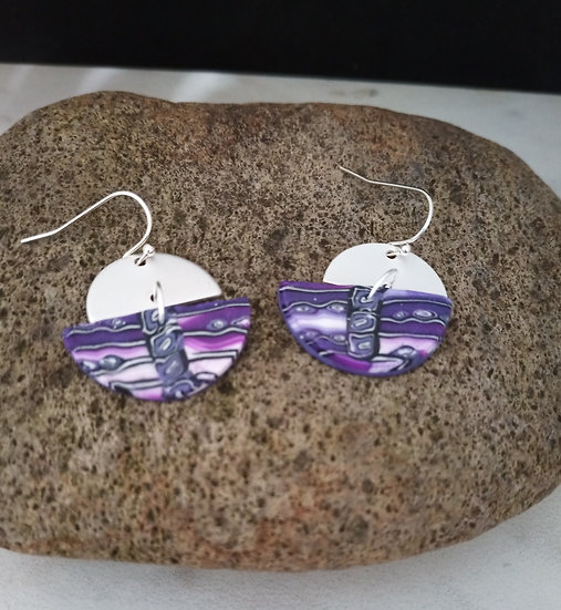 Half Circles of Violet Skies Earrings