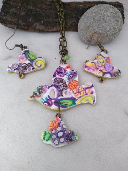 Multicolored Peace Bird Necklace set