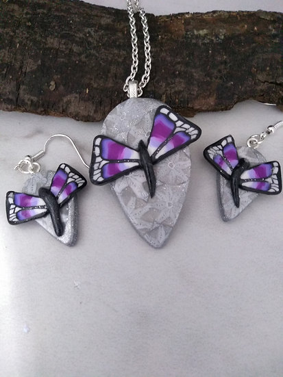 Purple Butterflies Necklace set