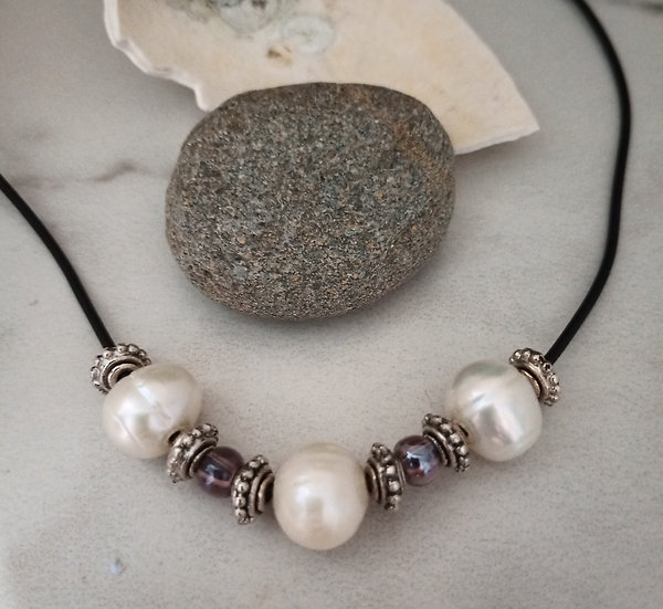 15mm (HUGE!) White Freshwater Pearls Choker.