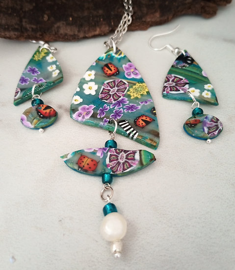 Triangular-ish Teal Garden Necklace set