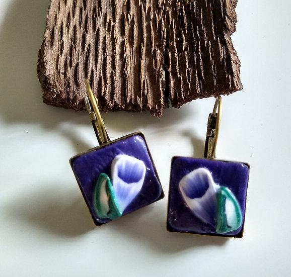 Purple Trumpet Flower Earring