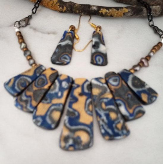 Mekume Gane Gold/BlueStatement Necklace set