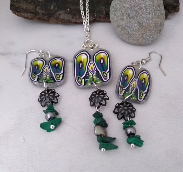 Green and Yellow Flowers Necklace set
